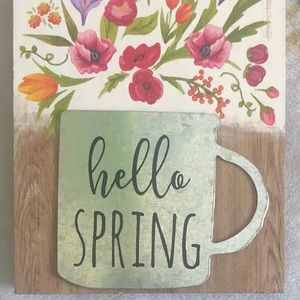 """Pier 1 Imports """"Hello Spring"""" Art Metal Accent NWT"""